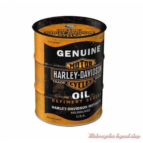 Tirelire métal Oil Barrel Harley-Davidson, noir, orange, 13 cm, 31507
