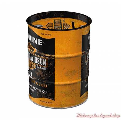 Tirelire métal Oil Barrel Harley-Davidson, noir, orange, 13 cm, 31507-2