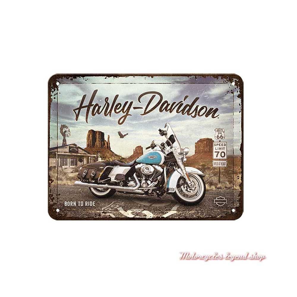 Plaque métal Route 66 Road King Classic Harley-Davidson, 15 x 20 cm, 26255