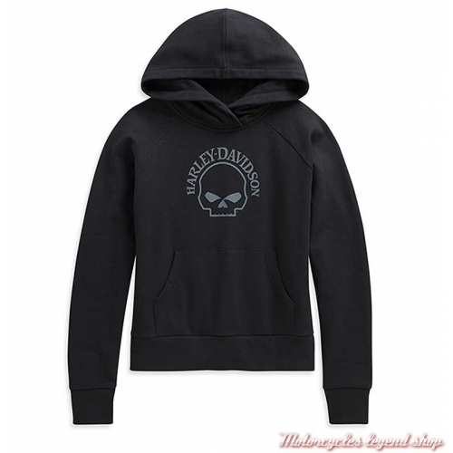 Sweatshirt Skull Willie G. Harley-Davidson femme, capuche, noir, coton, 96178-21VW