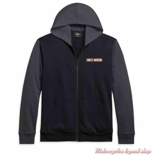 Sweatshirt Colorblock Harley-Davidson homme, noir, gris, zippé, capuche, coton, polyester, 96191-21VM
