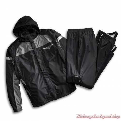 Ensemble de pluie Full Speed Harley-Davidson, noir, gris, nylon ripstop, imperméable, 3M réfléchissant, 98336-15VM