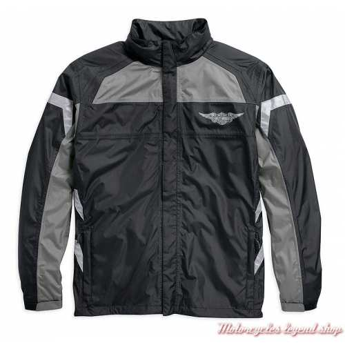 Ensemble de pluie Full Speed Harley-Davidson, noir, gris, nylon ripstop, imperméable, 3M réfléchissant, veste avant, 98336-15VM