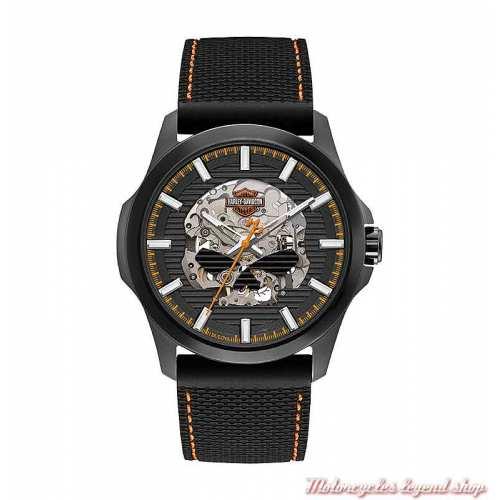 Montre Skull Automatic homme Harley-Davidson, noir, bracelet silicone, 78A118