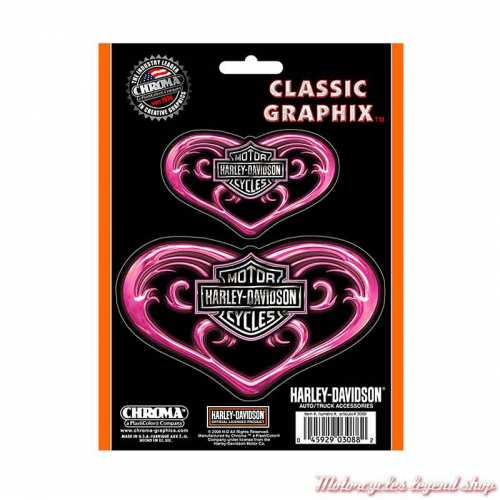 2 Stickers Pink Heart Harley-Davidsonrose, argenté, CG3088