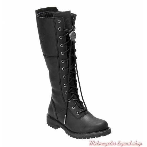 Bottes Walfield femme Harley-Davidson, cuir noir, à lacets, zip, D84531