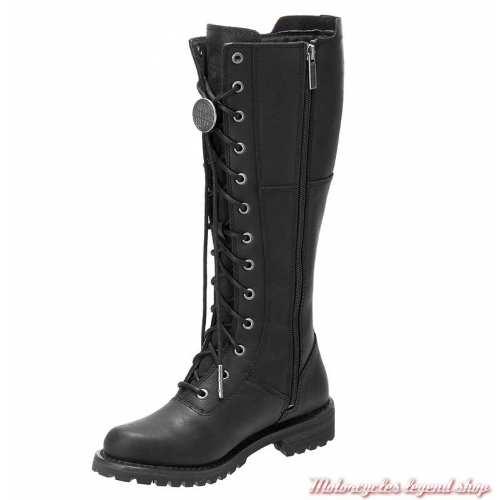 Bottes Walfield femme Harley-Davidson, cuir noir, à lacets, zip, D8453-2
