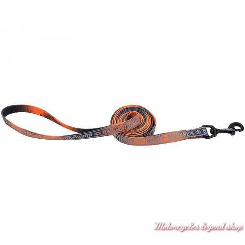 Laisse pour chien reflective Harley-Davidson, nylon orange, noir, longueur 1.83 m, H6466-H-OBO06