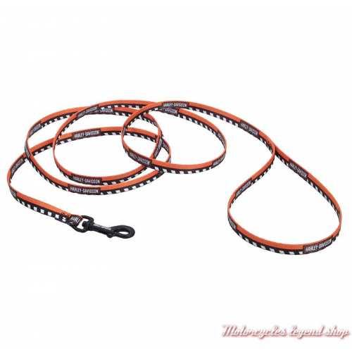 Longue laisse pour petit chien Harley-Davidson, 1.80 m nylon, orange, noir, H2366-HOC06