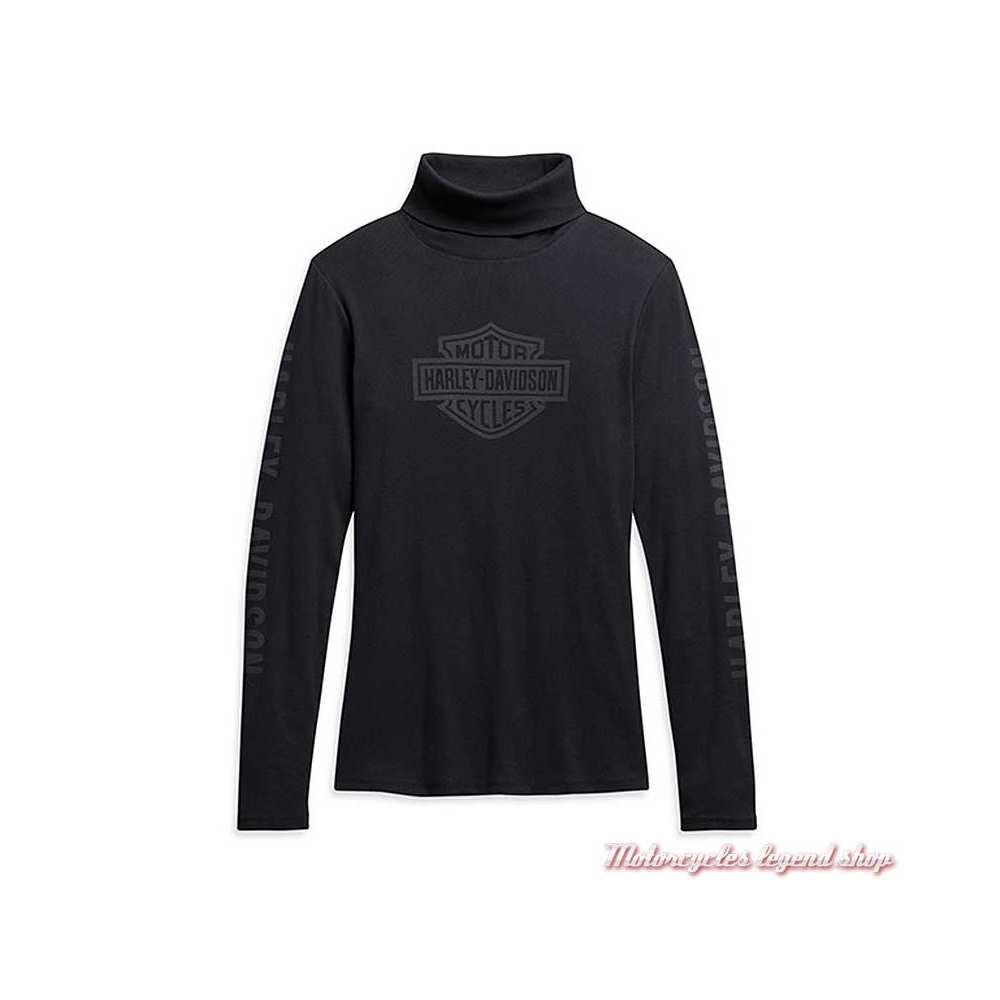 Tee-shirt Harley-Davidson femme, noir, manches longues, col roulé, coton, 96233-21VW