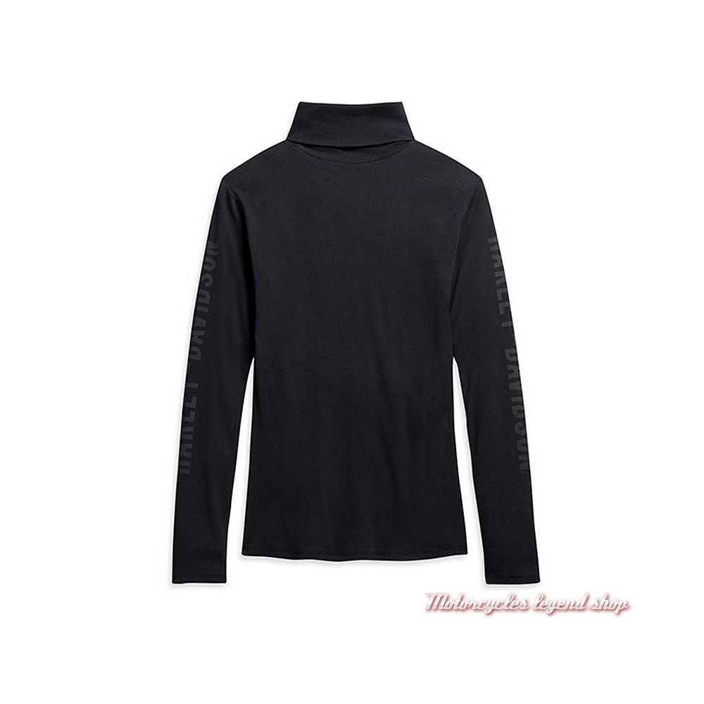 Tee-shirt Harley-Davidson femme, noir, manches longues, col roulé, coton, dos, 96233-21VW