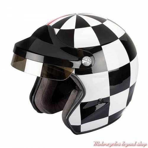 Casque ST520 Grand Prix Felix Motocyclette, damier noir et blanc