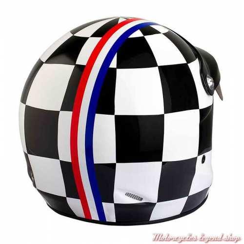 Casque ST520 Grand Prix Felix Motocyclette, damier noir et blanc, dos