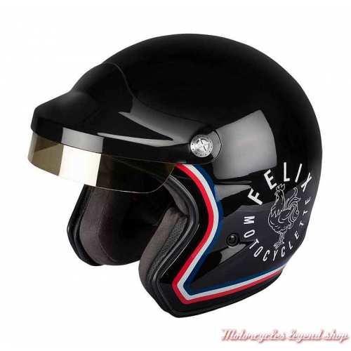 Casque ST520 Signature Felix Motocyclette, noir brillant