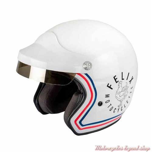 Casque ST520 Signature Felix Motocyclette, blanc brillant