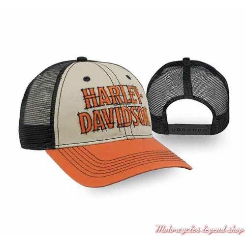 Casquette Timeline Harley-Davidson, beige, orange, arrière maille noir, réglable, BCC34566