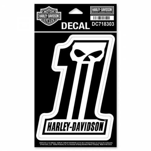 Sticker Number One Skull Harley-Davidson, noir, blanc, 13.5 x 10 cm, DC718303