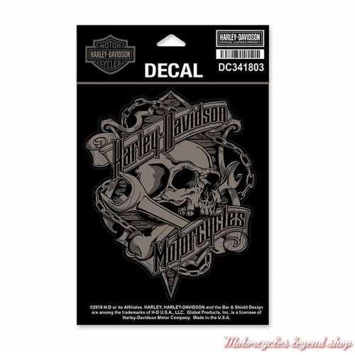 Sticker Skull Grim Harley-Davidson, noir, gris, 11.5 x 14 cm, DC341803
