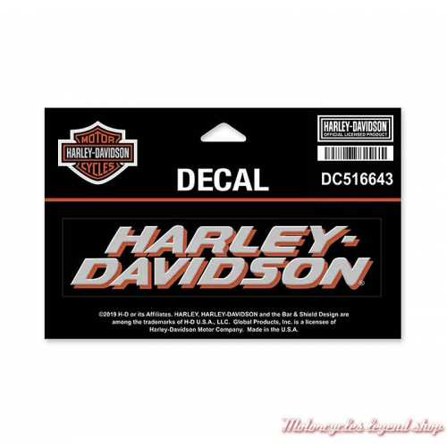 Sticker Harley-Davidson, noir, orange, gris, 15 x 9.5 cm, DC516643