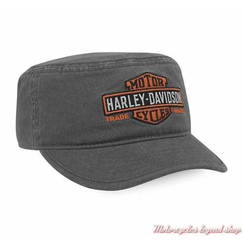 Casquette Flat Top Bar & Shield Harley-Davidson homme, grise, brodée, coton, PC31290