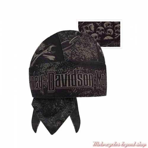Zandana Grim Harley-Davidson, skull, polyester, noir, gris, HW34180
