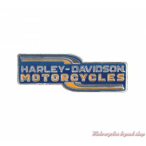 Pin's Lineation Harley-Davidson, metal, émail navy, orange, P340313