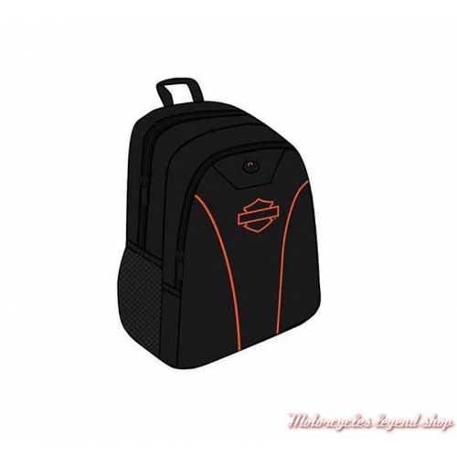 Sac à dos Harley-Davidson, noir, Bar & Shield orange