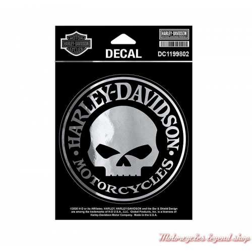 Sticker Skull Willie G. silver chrome Harley-Davidson, 10 cm, DC1199802