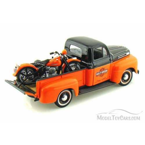 Miniature Pickup Ford F-1 1948 et FLH Duo Glide 1958 Harley-Davidson, noir orange, 1/24, 32161-32180.