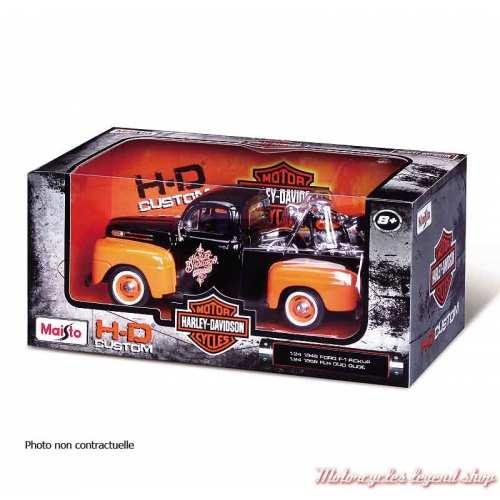 Miniature Pickup Chevrolet 3100 1950 et FLSTS Heritage Springer 2001 Harley-Davidson, 1/24, crème orange, boite 32161-32194