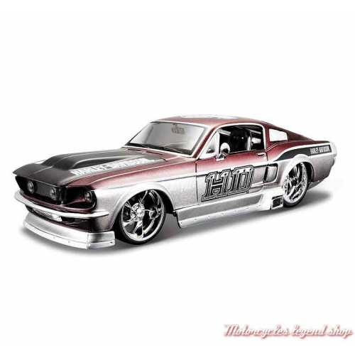 Miniature Ford Mustang GT 1967 Harley-Davidson, gris, marron, 1/24, 32160-32168