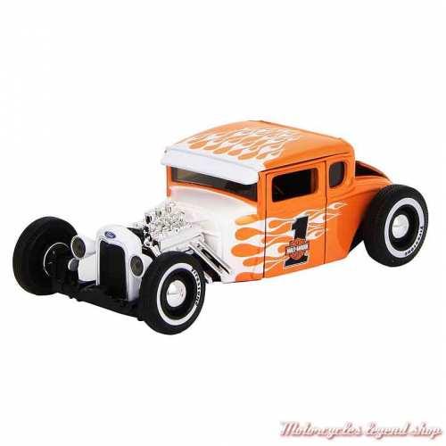 Miniature Ford Model A Harley-Davidson, orange, blanc, 1/24, 32160-32175