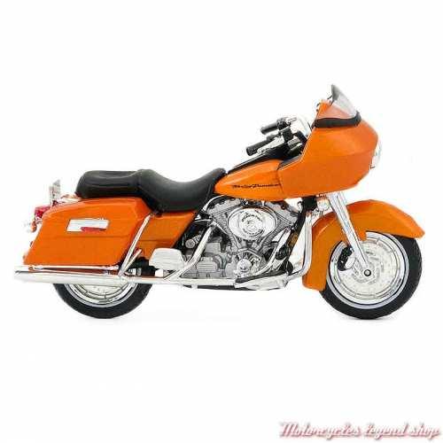 Miniature FLTR Road Glide 2002 Harley-Davidson, orange, echelle 1/18