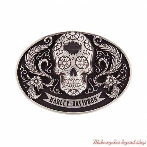 Boucle Vida Skull femme Harley-Davidson, métal poli argent et noir, esprit mexicain, HDWBU11503