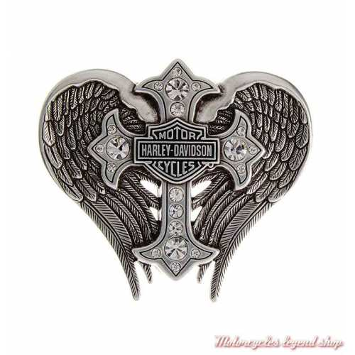 Boucle Back Roads Cross Winged femme Harley-Davidson, chrome, croix strass, ailes, HDWBU10453