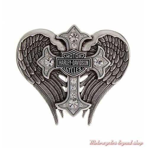 Boucle Back Roads Cross Winged femme Harley-Davidson, chrome, croix strass, ailes, HDWBU10453
