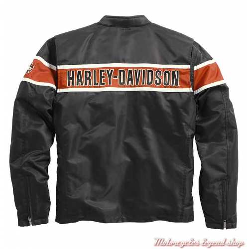Blouson textile Generations, homme, noir, orange, beige, vintage, Harley-Davidson dos, 98162-21VM