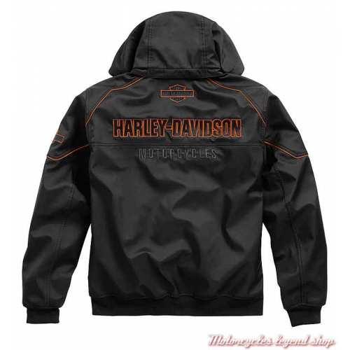 Blouson polaire Idyll Performance homme, capuche amovible, noir, polyester, Harley-Davidson dos, 98163-21VM