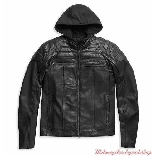 Blouson cuir Auroral II homme Harley-Davidson, noir, skull, réfléchissant, sweat amovible, 98003-21EM