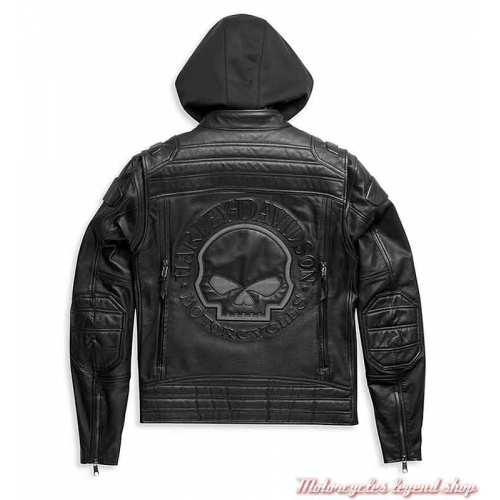 Blouson cuir Auroral II homme Harley-Davidson, noir, skull, réfléchissant, sweat amovible, dos, 98003-21EM