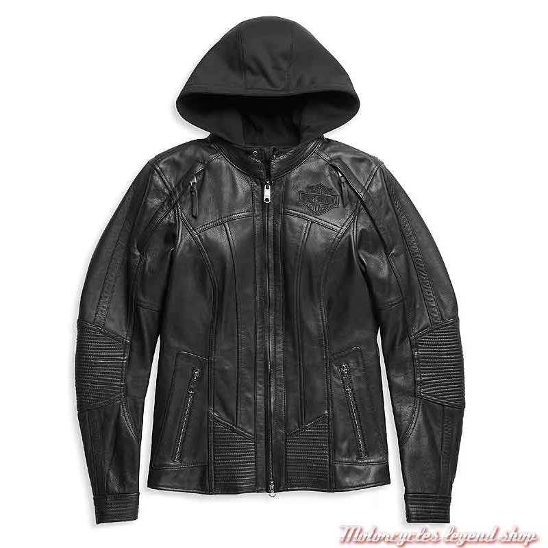 Blouson cuir Auroral II femme Harley-Davidson, noir, skull, réfléchissant, sweat amovible, 98011-21EW
