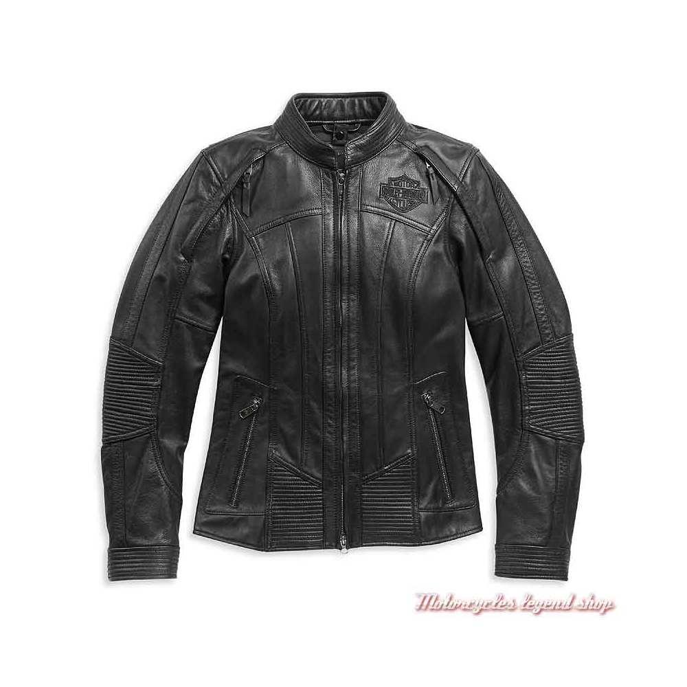 Blouson cuir Auroral II femme Harley-Davidson, noir, skull, réfléchissant, sweat amovible, 98011-21EW-2