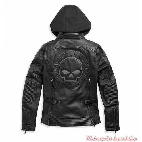 Blouson cuir Auroral II femme Harley-Davidson, noir, skull, réfléchissant, sweat, dos, 98011-21EW