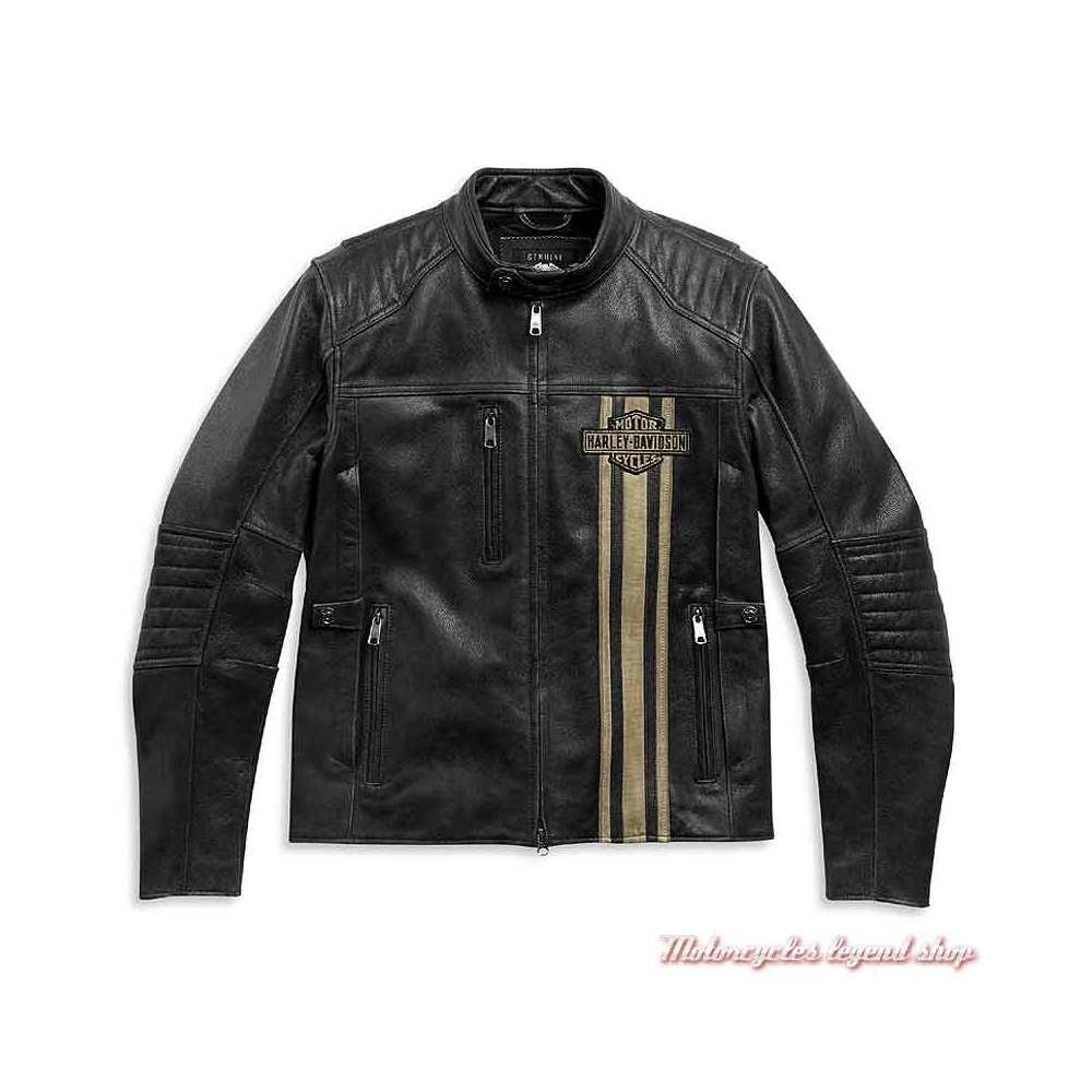 Blouson cuir Passing Link II Harley-Davidson homme, noir vieilli, bandes beige, triple aération, 98005-21EM