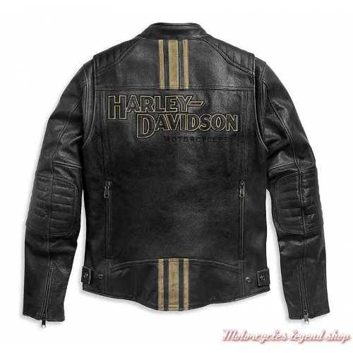 Blouson cuir Passing Link II Harley-Davidson homme, noir vieilli, bandes beige, triple aération, dos, 98005-21EM