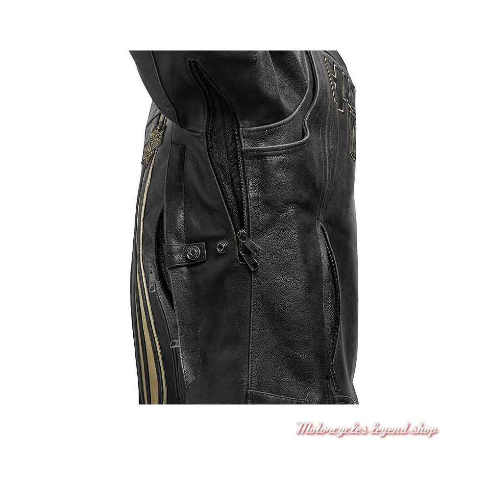 Blouson cuir Passing Link II Harley-Davidson homme, noir vieilli, bandes beige, triple aération, 98005-21EM-2