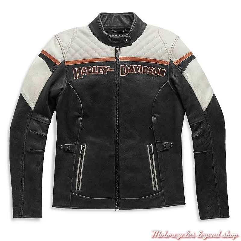 Blouson cuir Miss Enthusiast II Harley-Davidson femme, noir, beige, triple aération, 98008-21EW