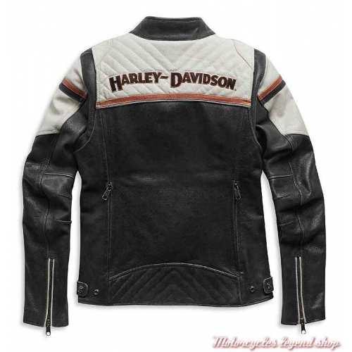 Blouson cuir Miss Enthusiast II Harley-Davidson femme, noir, beige, triple aération, dos, 98008-21EW