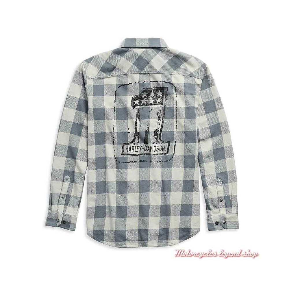 Chemise à carreaux One Logo Harley-Davidson homme, coton, gris, manches longues, pressions, dos, 99051-21VM