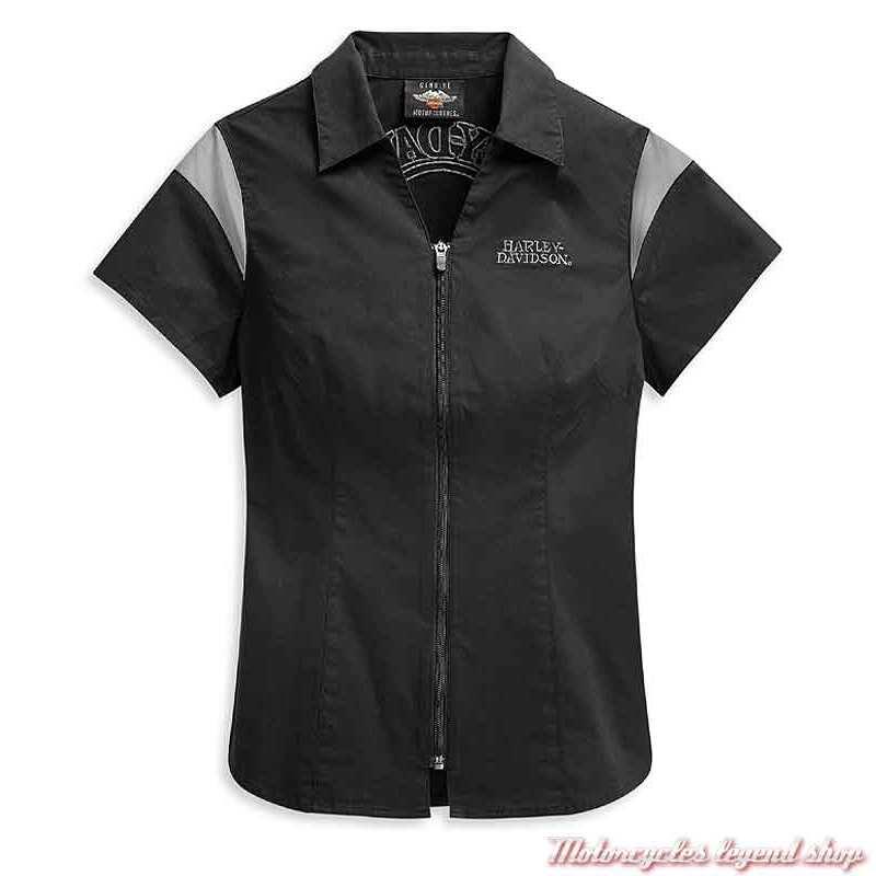 Chemisier Skull Logo Harley-Davidson femme, zippée, coton, noir, gris, manches courtes, 99055-21VW